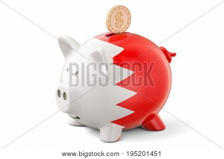 Piggy bank with flag of Bahrain and golden dollar coin. Investments and business concept 3D rendering