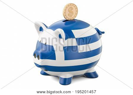 Piggy bank with flag of Greece and golden dollar coin. Investments and business concept 3D rendering