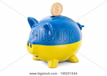 Piggy bank with flag of Ukraine and golden dollar coin. Investments and business concept 3D rendering