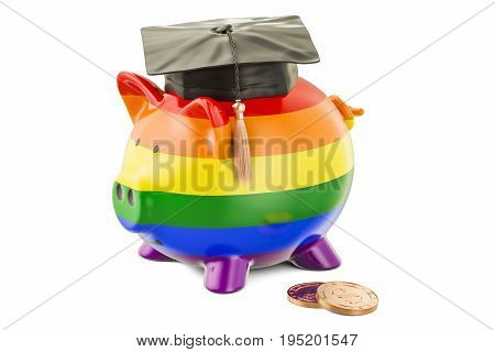 Savings for education concept. Piggy bank with rainbow flag and golden coin 3D rendering