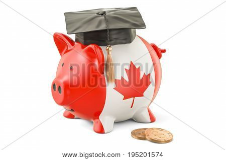 Savings for education in Canada concept 3D rendering isolated on white background