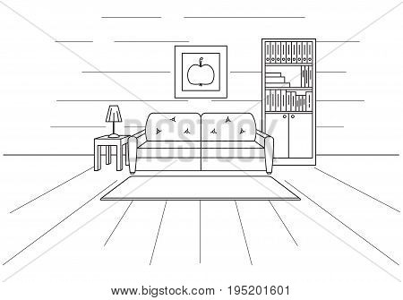 Sofa bookcase table with lamp. Linear sketch of the interior in a modern style.