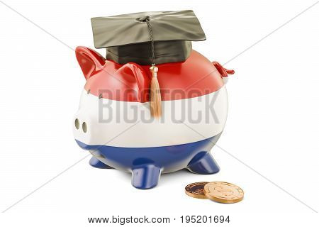 Savings for education in Netherlands concept 3D rendering isolated on white background