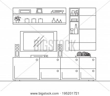 Linear sketch of the interior. Bookcase dresser with TV and shelves. Linear sketch of the interior in a modern style.