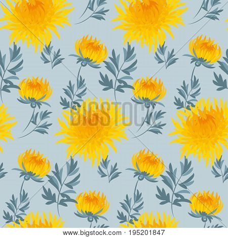 fall flower seamless pattern. yellow chrysanthemum repeatable motif.  autumn gold flower vector illustration. elegant natural ornament foe fabric or paper