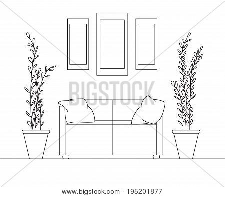 Sofa with pillows on the sides large pots with plants. Over the sofa is three paintings. Linear sketch of the interior in a modern style.