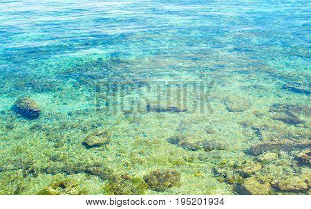 Turquoise blue sea water on white coral seashore. White beach of tropical island. Beautiful nature of tropics. Summer travel banner. Caribbean seaside background. Aqua blue seawater above white sand.