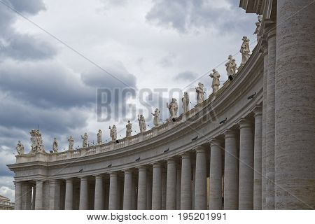 Vatican city, Vatican city state - October 02: Detail of the 162 statues of Saints in St. Peter's Square at the Vatican City State on October 02 2015