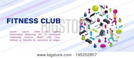 Isometric fitness seamless pattern with set of sports equipment, colorful background with dumbells, step platforms, fit ball, half ball, bottle, collection of workout accessories, vector illustration