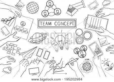 Team Concept. Line Design. Set of application development, information and mobile technologies vector elements