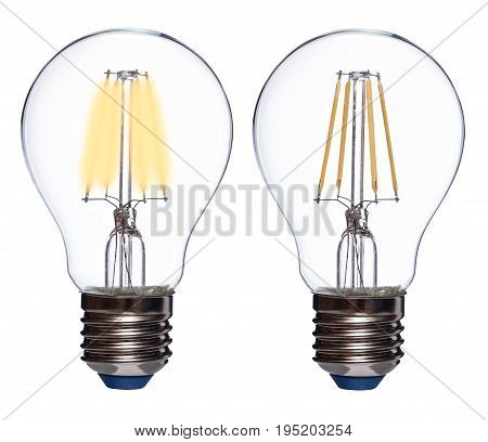 Led bulb switched on and off isolated on white background.