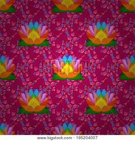 Flowers sketch. In cute textile style on colorful background. Colorful seamless pattern. Vector illustration. Floral background.