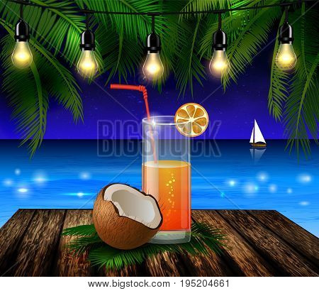Coconut tropical nut fruit with cut vector illustration on a beach background with tropical palm leaves and an orange juice glass on wooden deck