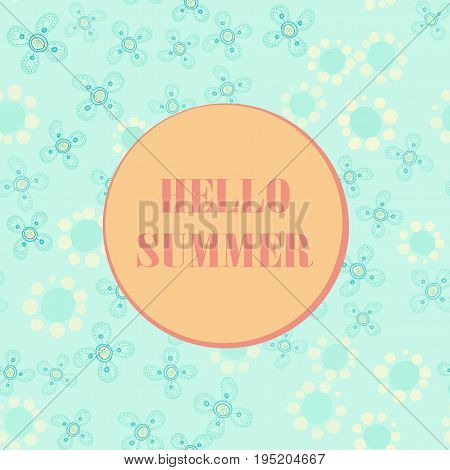 Hello summer poster pastel color, summer party design template.