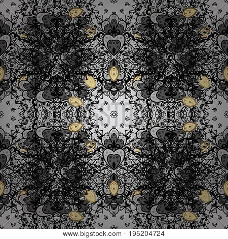 Golden pattern on gray background with white doodles. Vector golden pattern. Seamless golden textured curls in oriental style arabesques.