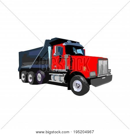 dump truck on white background vector illustration. Modern dump truck side view. Vehicle for cargo transportation. Construction machinery. Design truck element. Truck icon. Freight and work vehicles, truck.eps8,eps10
