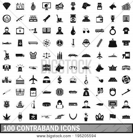 100 contraband icons set in simple style for any design vector illustration