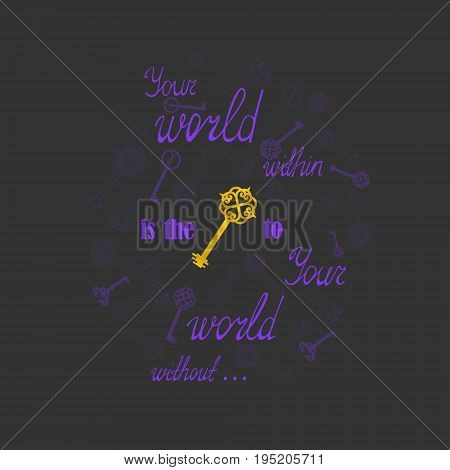 Dark Card with Purple Lettering and Golden  Textured Key. Vector EPS 10