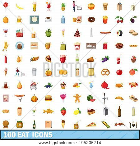 100 eat icons set in cartoon style for any design vector illustration
