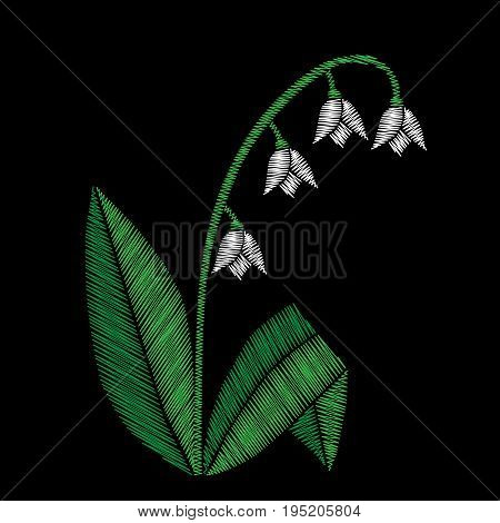 Embroidery stitches imitation floral pattern with lilies of the valley flowers. Vector traditional embroidery folk fashion ornament on black background.