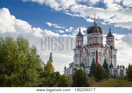 The beautiful Orthodox Church St. Panteleimon Cathedral the Cathedral The Feofaniya Park is one of the most beautiful places in Kiev the capital of Ukraine.