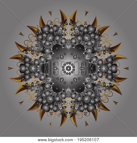 Illustration. Snowflakes snowfall. Beautiful vector golden snowflakes isolated on a black background. Falling Christmas stylized golden snowflakes.