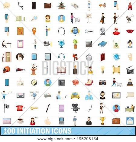 100 initiation icons set in cartoon style for any design vector illustration