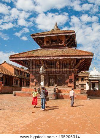 KATHMANDU, BHAKTAPUR, NEPAL. 30 September 2008: Ancient Hindu temple in the Durbar square in Bhaktapur. Durbar Square in Bhaktapur, Kathmandu valley
