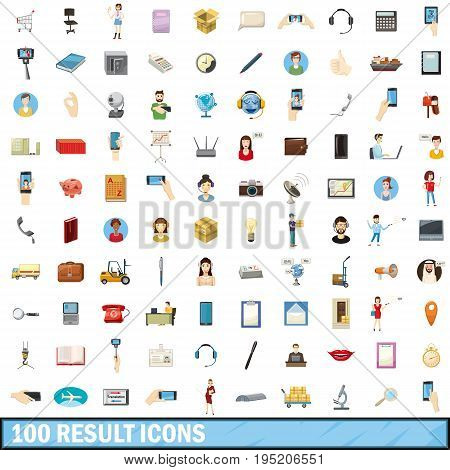 100 result icons set in cartoon style for any design vector illustration