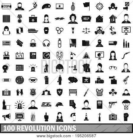 100 revolution icons set in simple style for any design vector illustration