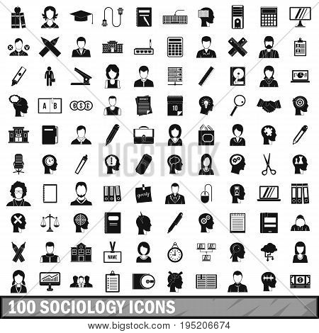 100 sociology icons set in simple style for any design vector illustration