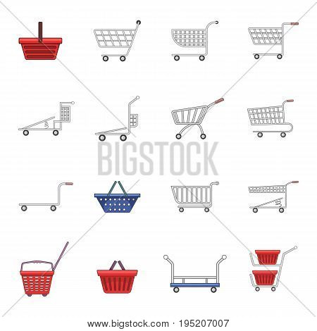 Shopping cart icons set. Cartoon illustration of 16 shopping cart vector icons for web
