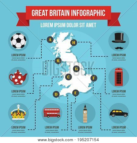 Great Britain infographic banner concept. Flat illustration of Great Britain infographic vector poster concept for web