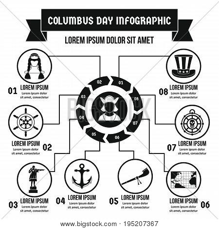 Columbus Day infographic banner concept. Simple illustration of Columbus Day infographic vector poster concept for web