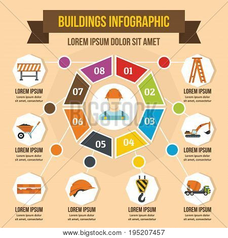 Buildings infographic banner concept. Flat illustration of buildings infographic vector poster concept for web