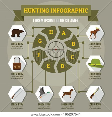 Hunting infographic banner concept. Flat illustration of hunting infographic vector poster concept for web