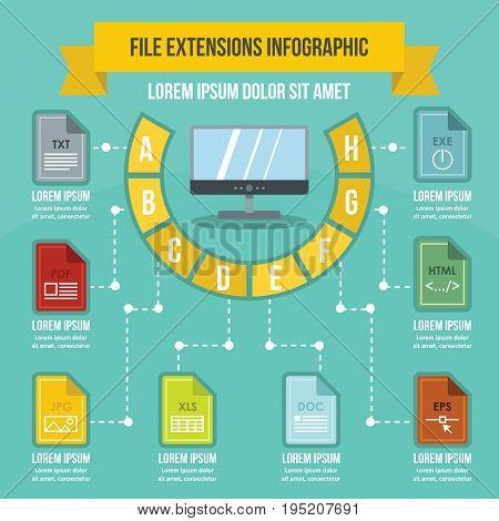 File extensions infographic banner concept. Flat illustration of file extensions infographic vector poster concept for web