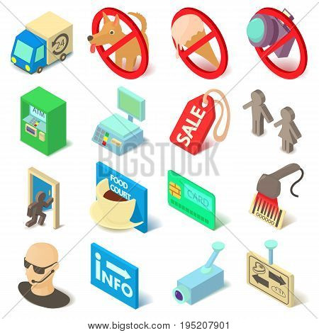 Shop navigation foods icons set. Isopmetric cartoon illustration of 16 shop navigation foods vector icons for web