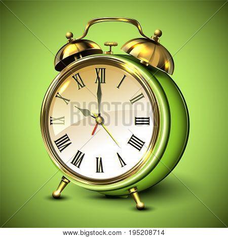 Green retro style alarm clock on green background. Vector illustration.