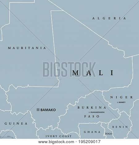 Mali political map with capital Bamako, international borders and neighbors. Republic and landlocked country in West Africa. Gray illustration. English labeling. Vector.