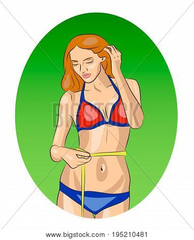 Slim beautiful fitness girl in bikini measuring her waist, good rrsults in sposrts, loosing weight, vector illustration
