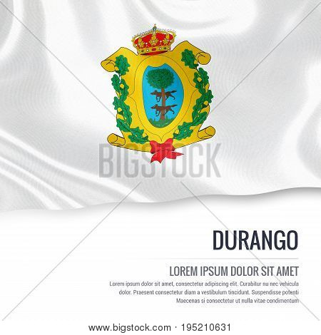 Mexican state Durango flag waving on an isolated white background. State name and the text area for your message. 3D illustration.