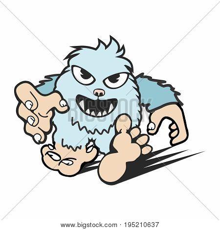 Vector Creative Cartoon Bigfoot Yeti Mascot isolated on white background
