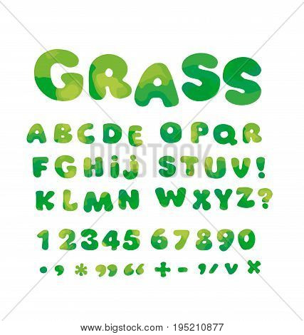 nature green soft curve typeface alphabet. kid font element set. child style ABC vector illustration.