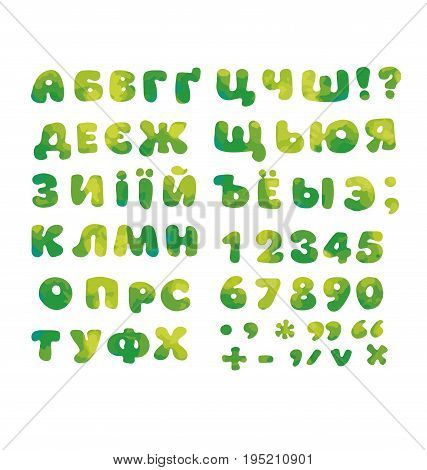 Cyrillic alphabet in nature green color. kid font element set. child style ABC vector illustration.