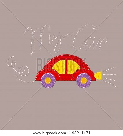 patchwork style kid auto vector illustration. red cute car naive cartoon