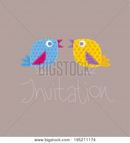 patchwork style kid bird vector illustration. two birdie on invitation template