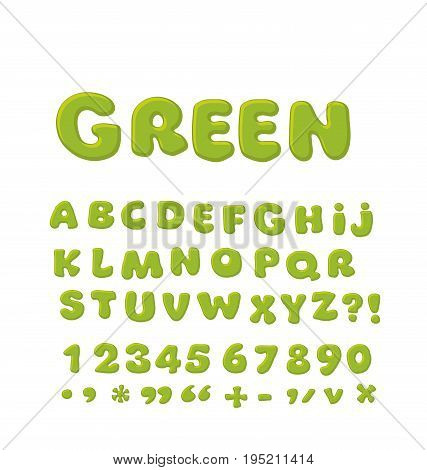 Bold  soft font abc, rounded type for birthday greeting, baby shower card, educational poster. Funny Alphabet for children. Cute cartoon alphabetic letters in green color.