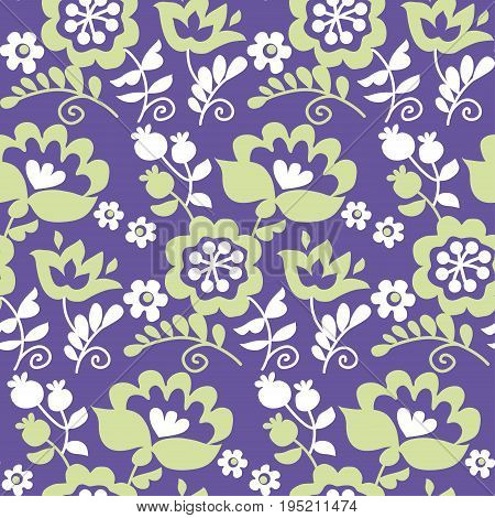 traditional european Ukrainian ornament in modern colors. rustic floral composition. rural folk style flower seamless pattern.