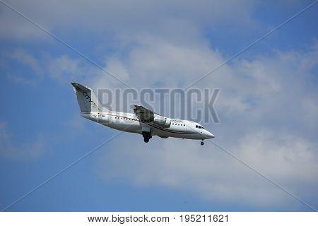 Amsterdam the Netherlands - July 9th 2017: EI-RJI Cityjet British Aerospace Avro RJ85 approaching Schiphol Amsterdam Airport Kaagbaan runway